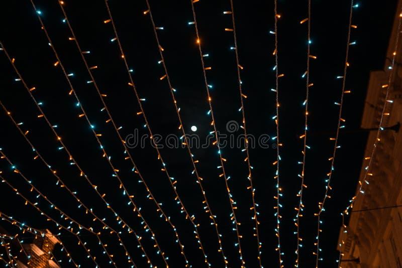 照明月亮和天空夜 免版税库存照片