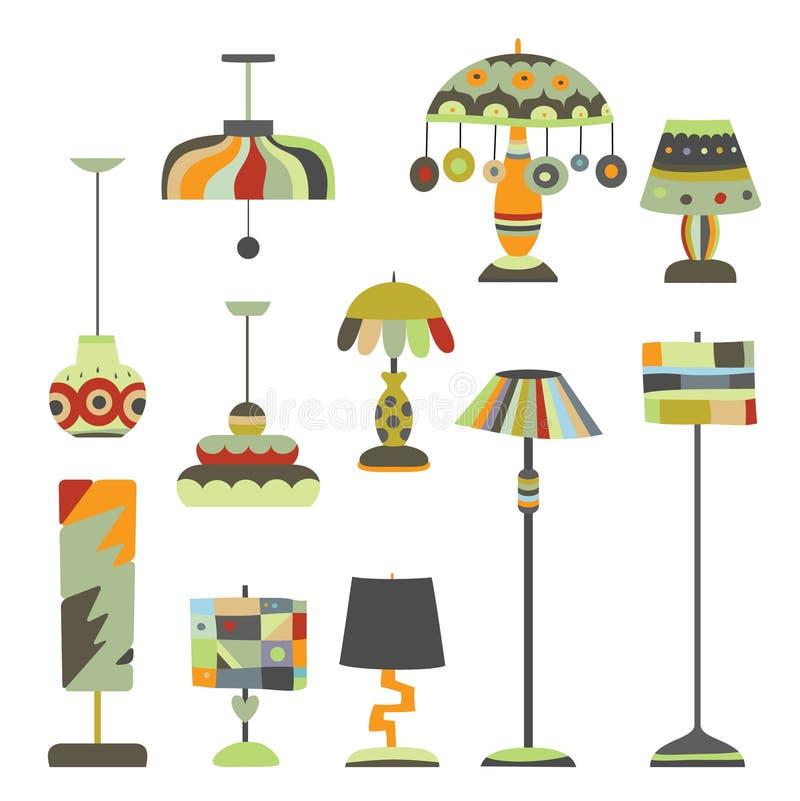照明设备对象的收集 皇族释放例证