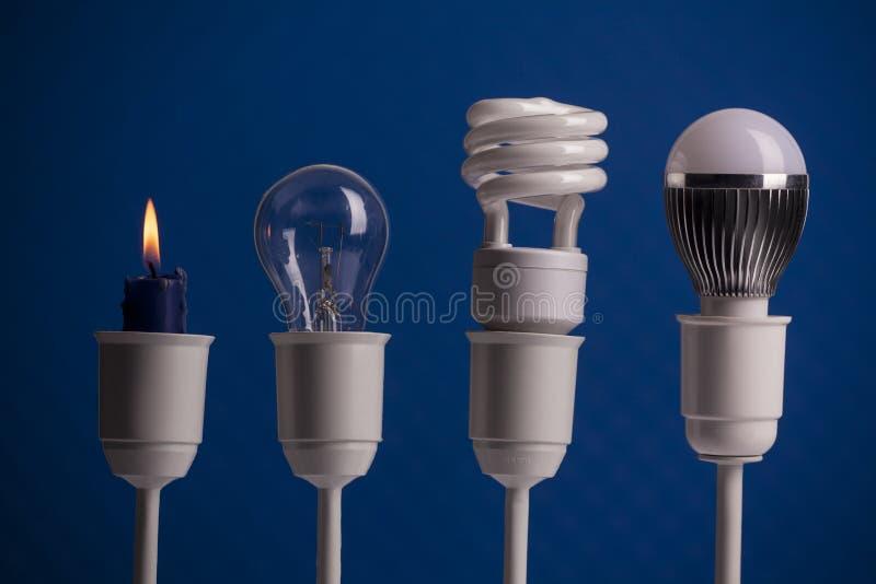 照明设备演变 库存照片