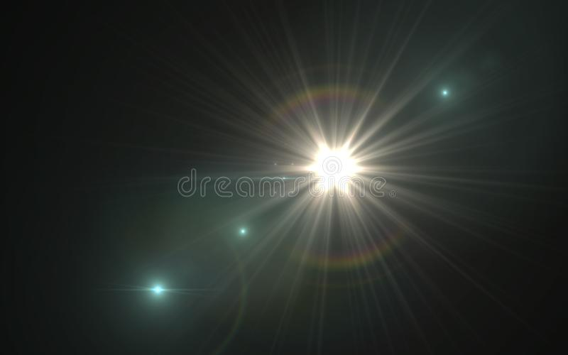 照明设备火光的抽象图象 与数字式透镜火光的抽象太阳爆炸 向量例证