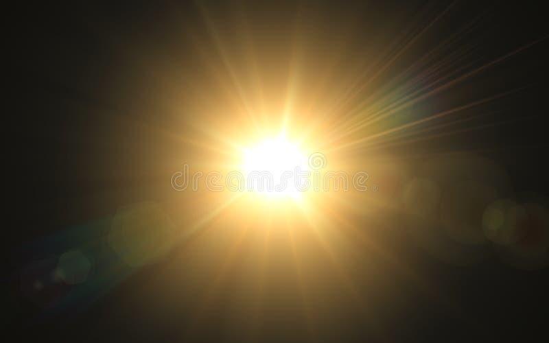 照明设备火光的抽象图象 抽象太阳爆炸有数字式透镜火光背景 金自然火光 皇族释放例证