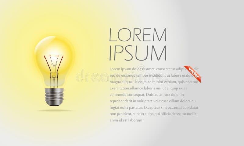 照明设备灯和文本 想法 库存例证