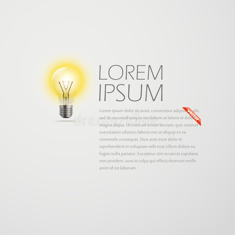 照明设备灯和文本 想法 向量例证