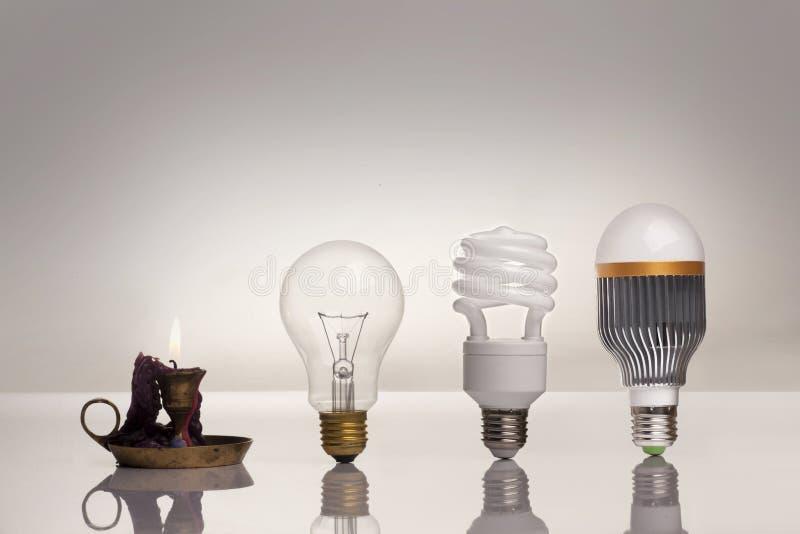 照明设备的演变 免版税库存照片