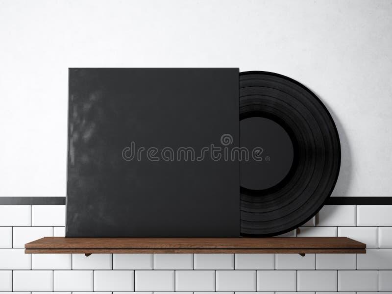 照片乙烯基音乐在自然木书架的册页模板 白色被绘的砖墙背景 葡萄酒样式,高 免版税图库摄影