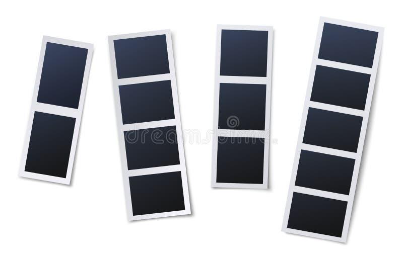 照片亭图片框 古董快照、即时照片和照片条矢量图插图集 库存例证