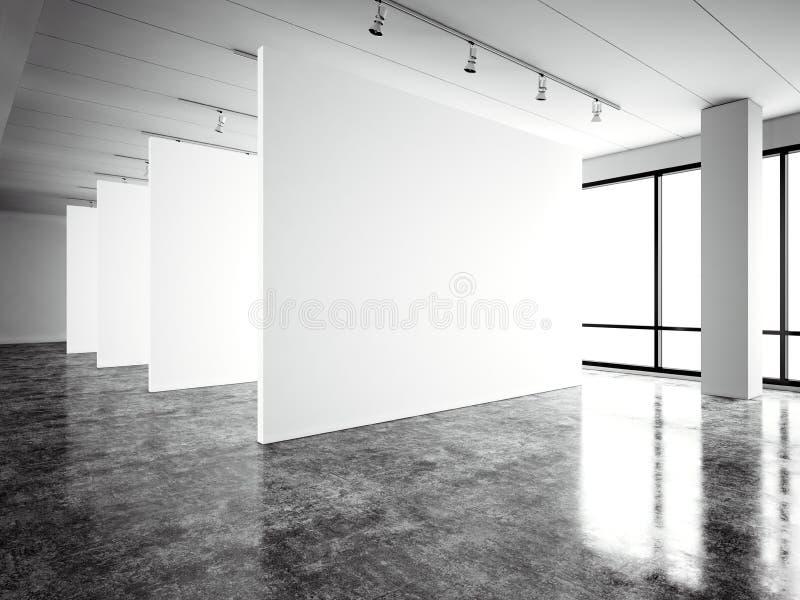 照片博览会现代画廊,露天场所 空白的白色空的帆布当代工业地方 完全内部顶楼 向量例证