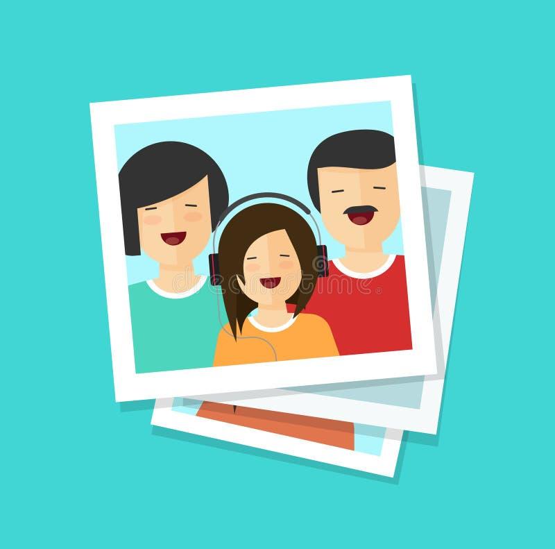 照片卡片或愉快的家庭传染媒介例证、平的动画片照片或者男人、妇女和女孩一起,全部  向量例证