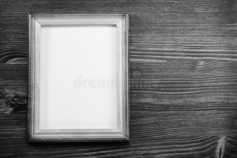 照片在木头的画框 免版税库存照片