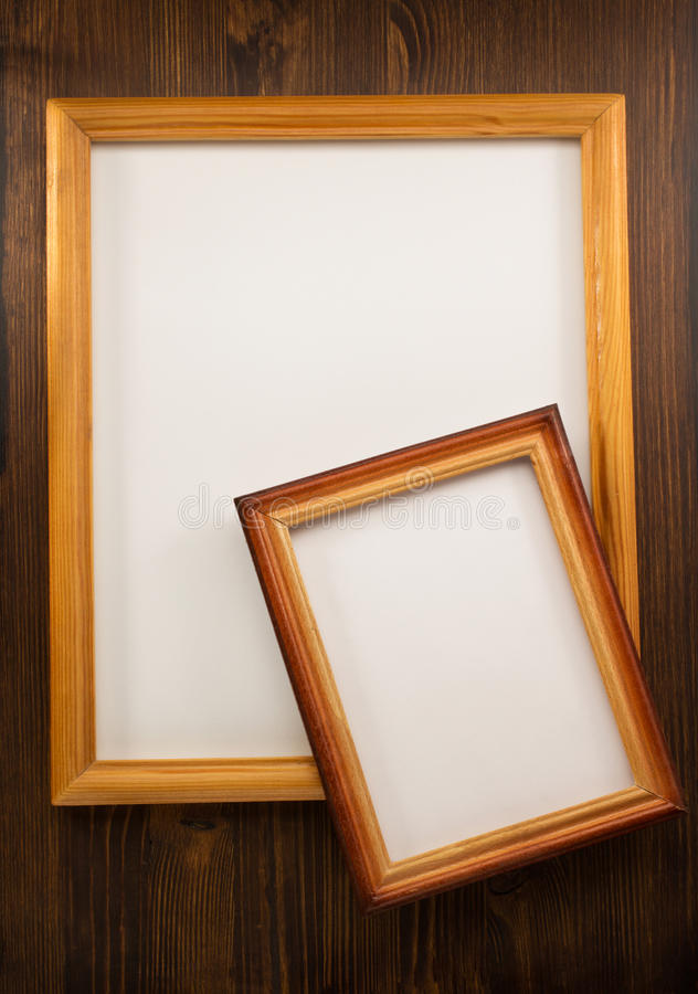 照片在木头的画框 免版税图库摄影
