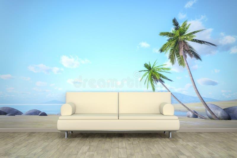 照片墙壁墙壁上的棕榈滩沙发地板 库存照片