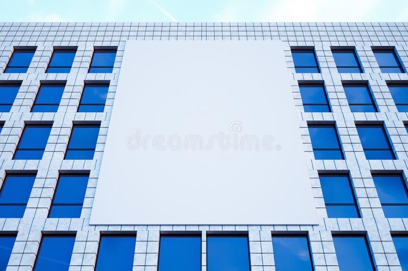 照片大空白的广告牌,在现代摩天大楼的显示在做广告的中心大城市 水平的大模型 3d 图库摄影