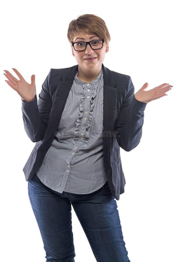 照片惊奇的胖墩墩的妇女用开放手 库存照片