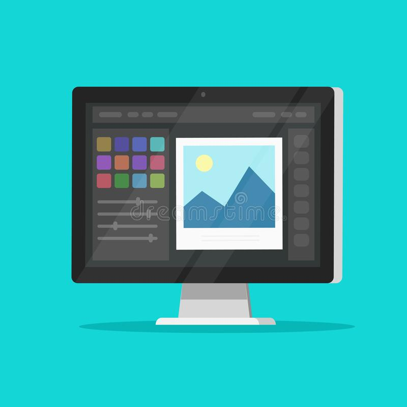 照片或图形编辑在台式电脑显示器传染媒介象,平的动画片个人计算机屏幕有设计的或图象编辑 皇族释放例证