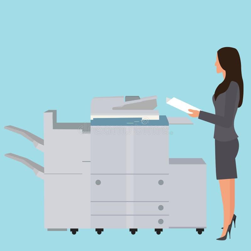 照片拷贝影印机机器办公室妇女站立的复制的文件大复印机 皇族释放例证