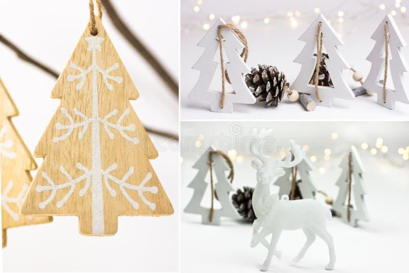 照片拼贴画,白色圣诞节装饰,手工制造装饰品,木冷杉木,杉木锥体,驯鹿, bokeh点燃,斯堪的纳维亚语 库存图片