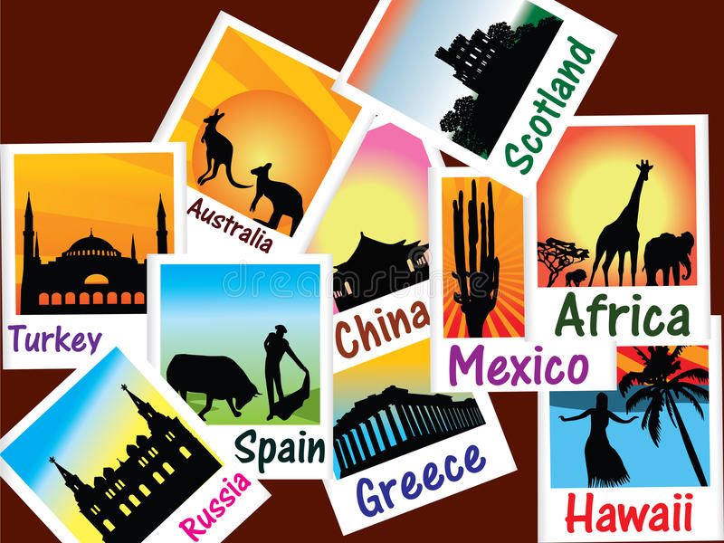 照片旅行世界 向量例证