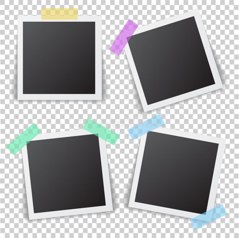 照片框架与阴影别针的在稠粘的磁带上 现实倒空 皇族释放例证