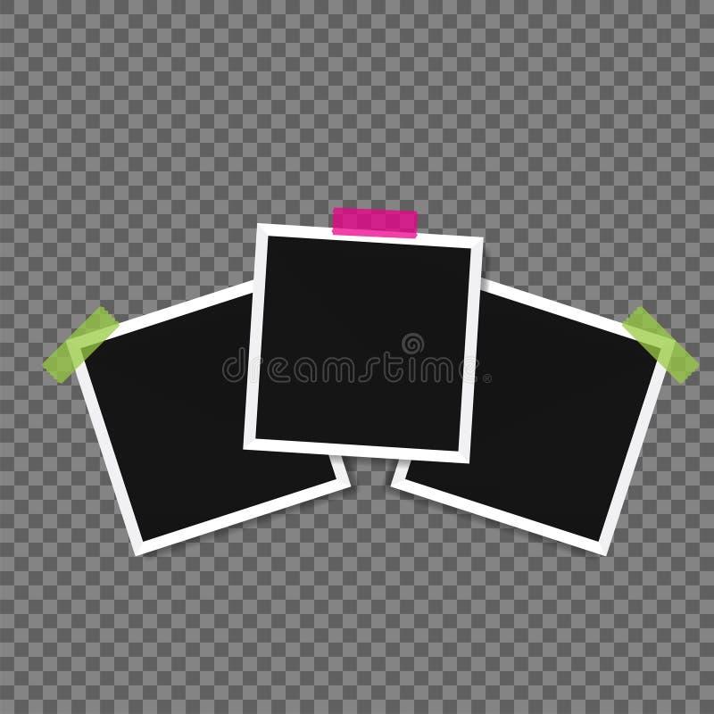 照片框架与阴影别针的在稠粘的磁带上 库存例证