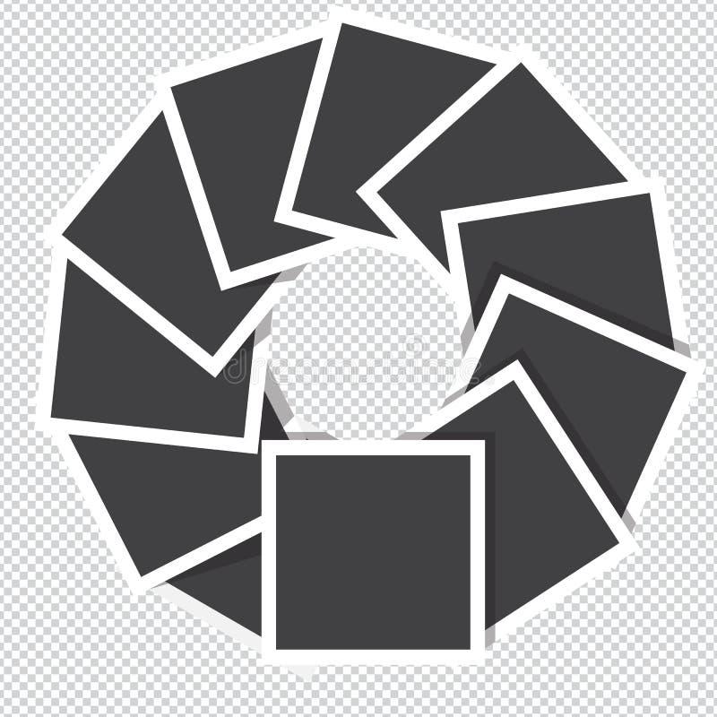 照片框架在透明背景转动逆时针隔绝 库存例证