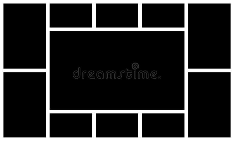 照片框架拼贴画 画框模板 减速火箭的图象蒙太奇大模型 黑角规照片传染媒介纹理 库存例证