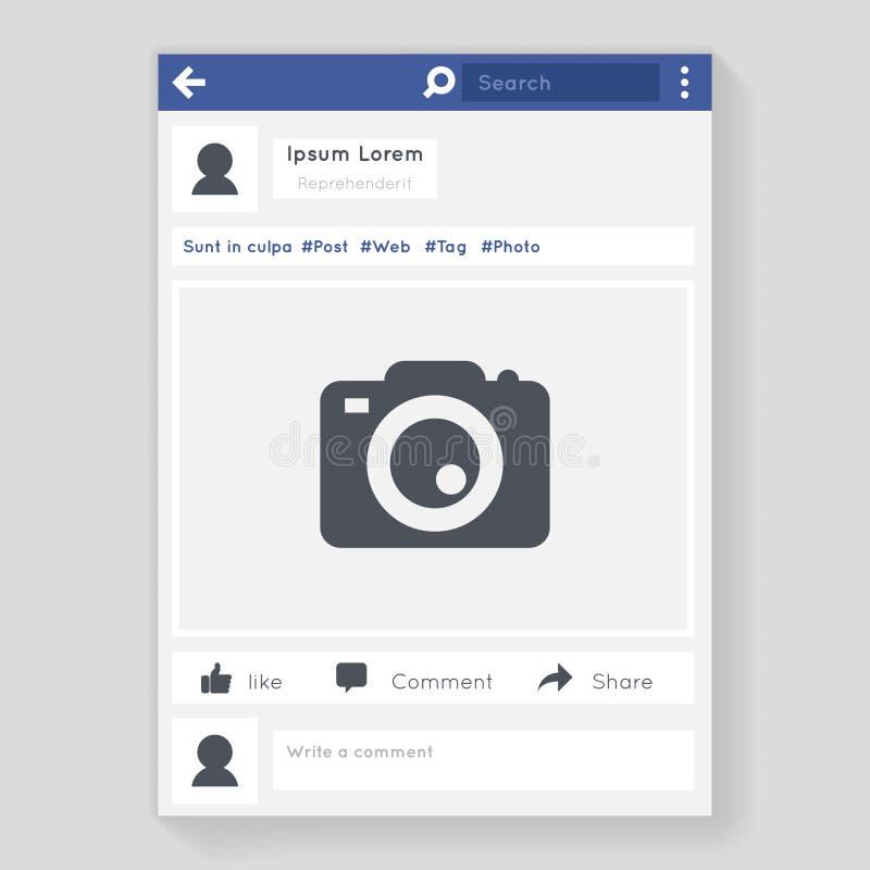 照片框架社会网络窗口消息聊天的传讯概念平的设计传染媒介例证 向量例证