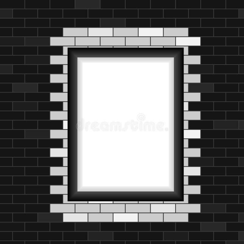 照片框架,在砖墙背景的现实照片框架 库存例证