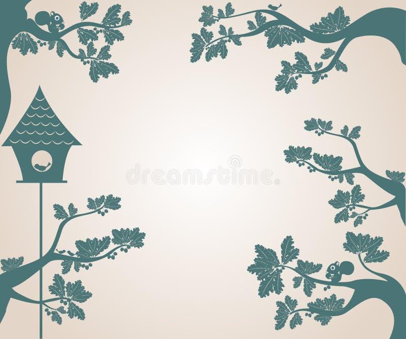 照片框架组成由树和鸟房子剪影  皇族释放例证