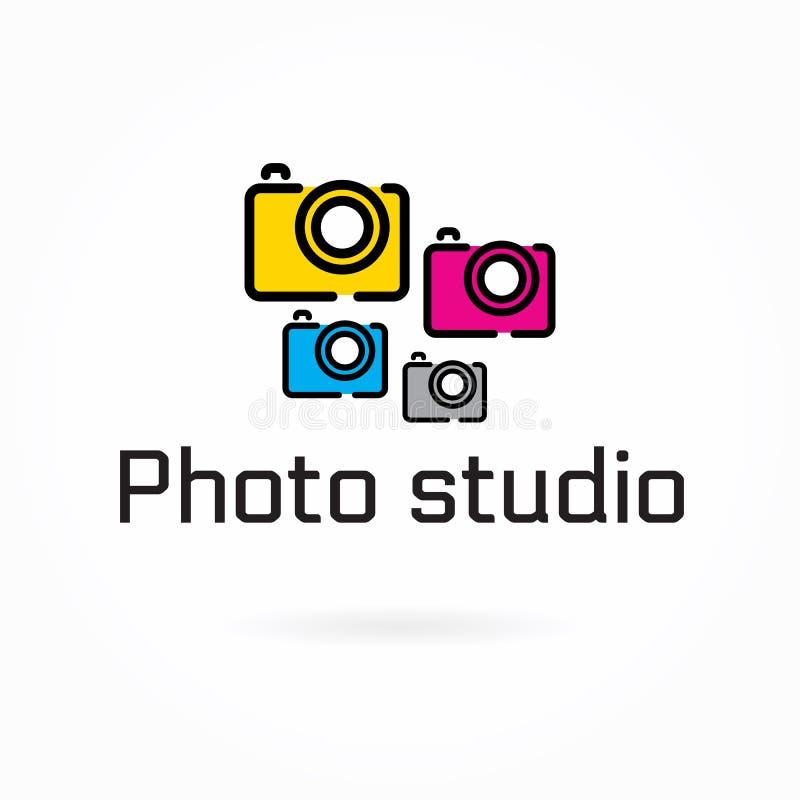 照片演播室商标模板,五颜六色的照相机平的象 向量例证