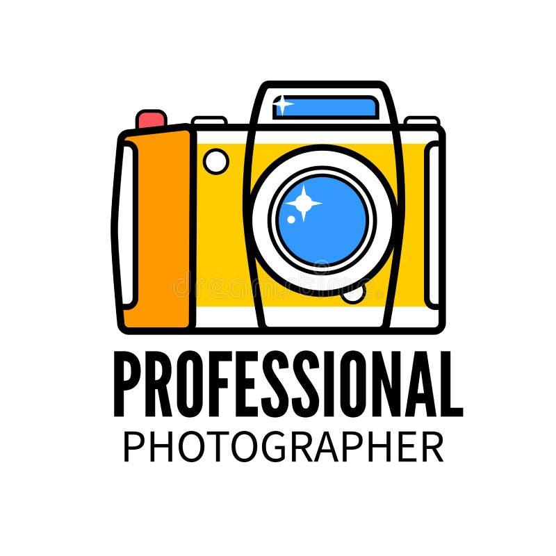 照片演播室或专业摄影师商标模板 向量例证