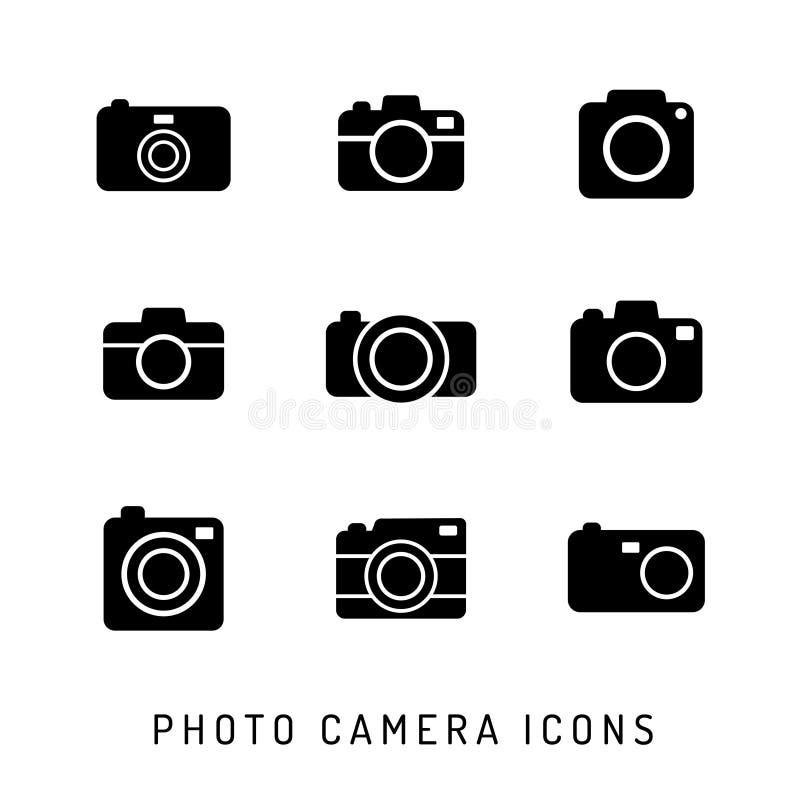 照片照相机剪影象集合 黑色图标 库存例证