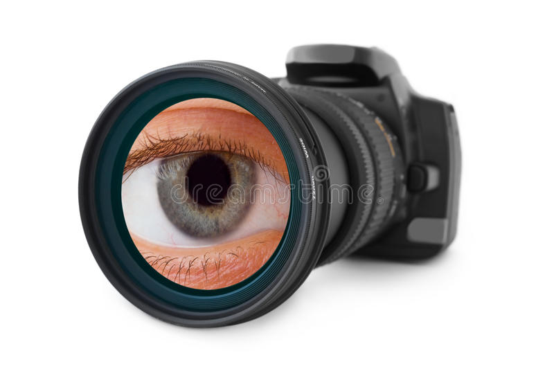 照片照相机和眼睛在透镜 免版税库存图片