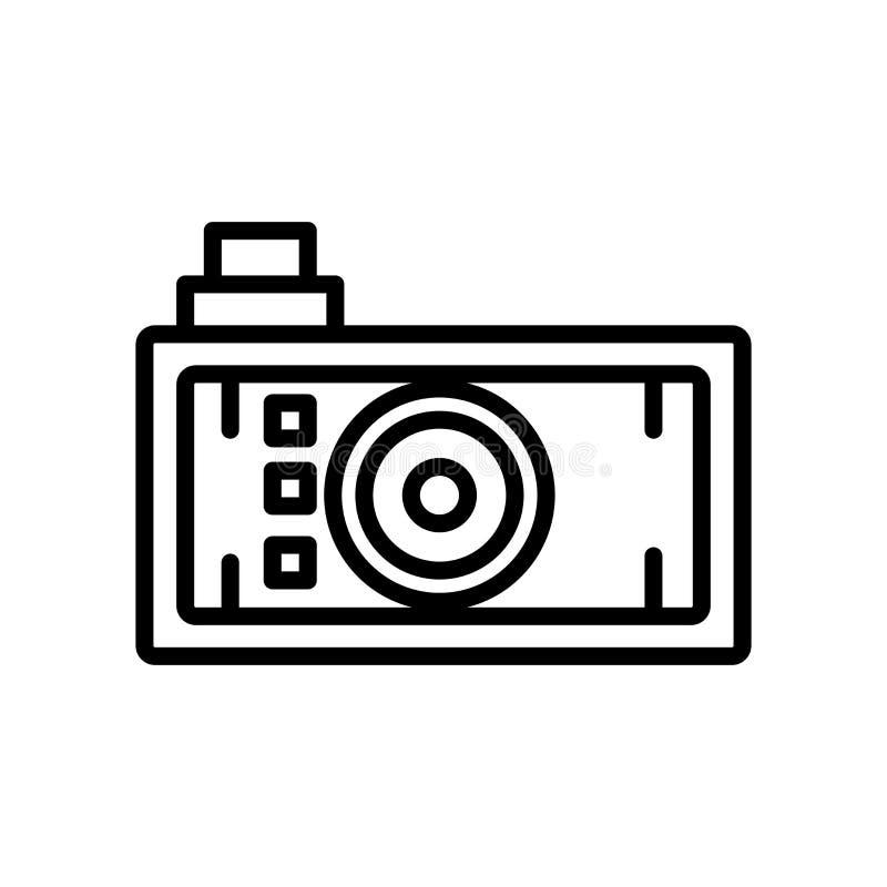 照片照相机在白色背景,照片照相机标志、线和概述元素隔绝的象传染媒介在线性样式 向量例证