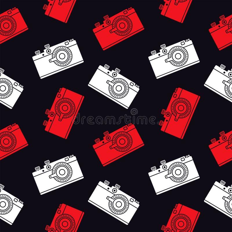 照片照相机无缝的样式 库存例证