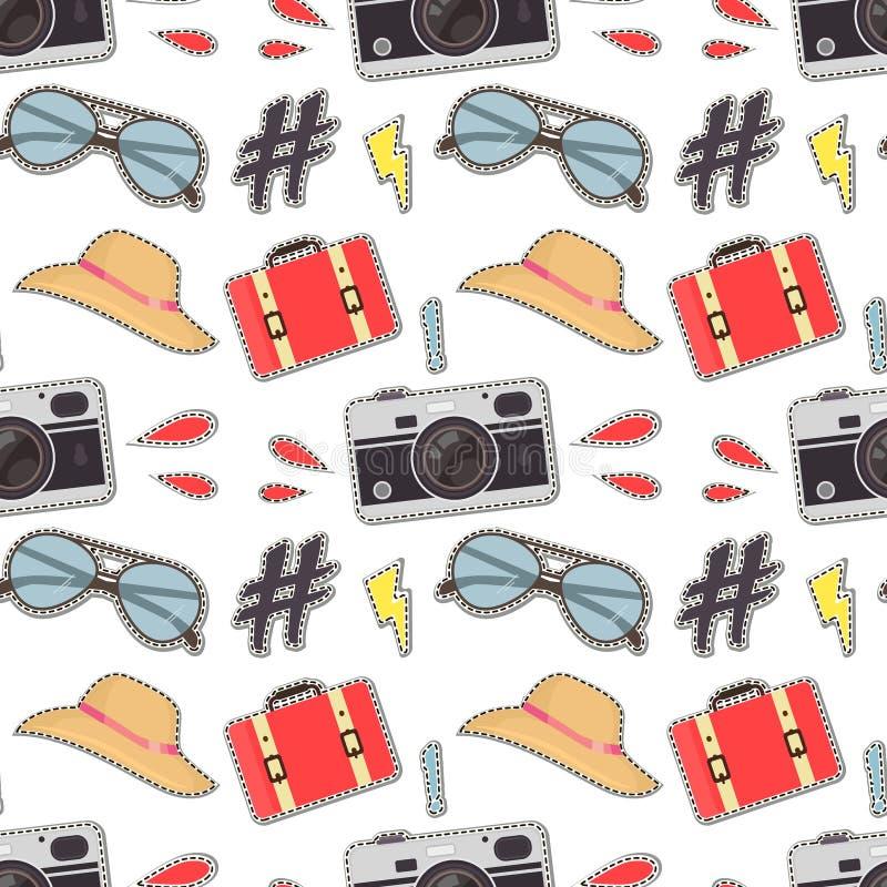 照片照相机行家贴纸背景 导航与逗人喜爱的减速火箭的照相机的五颜六色的无缝的样式 库存例证
