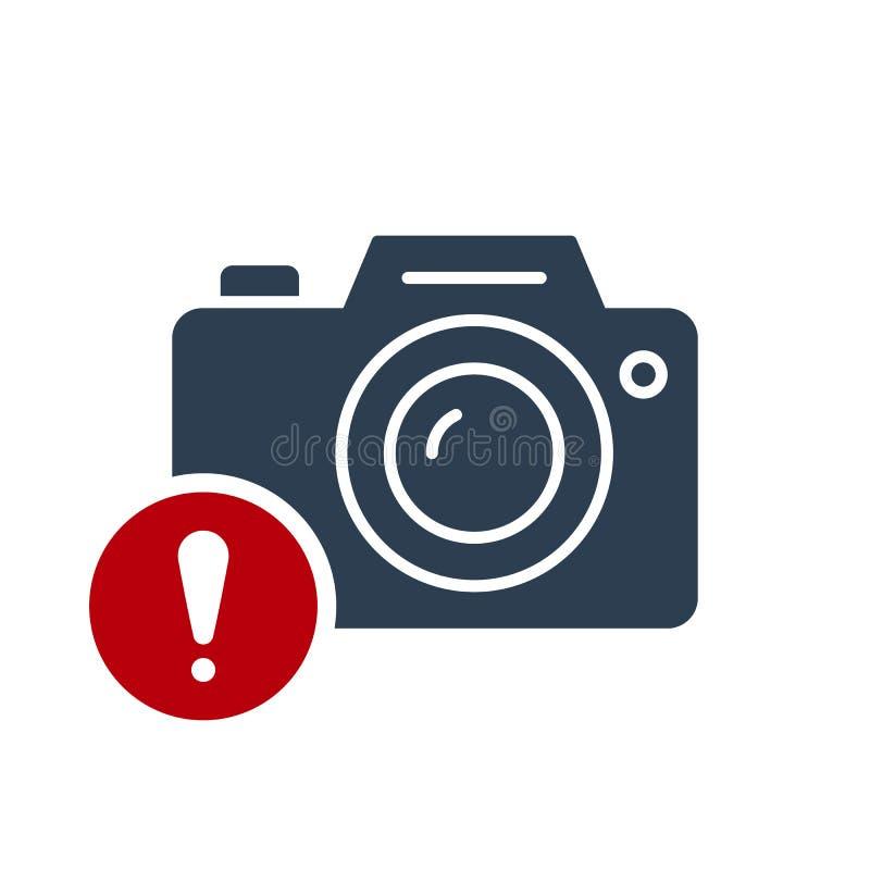 照片照相机象,与惊叹号的技术象 照片照相机象和戒备,错误,警报,危险标志 皇族释放例证
