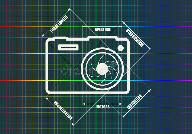 照片照相机象 向量 主要参量 库存例证