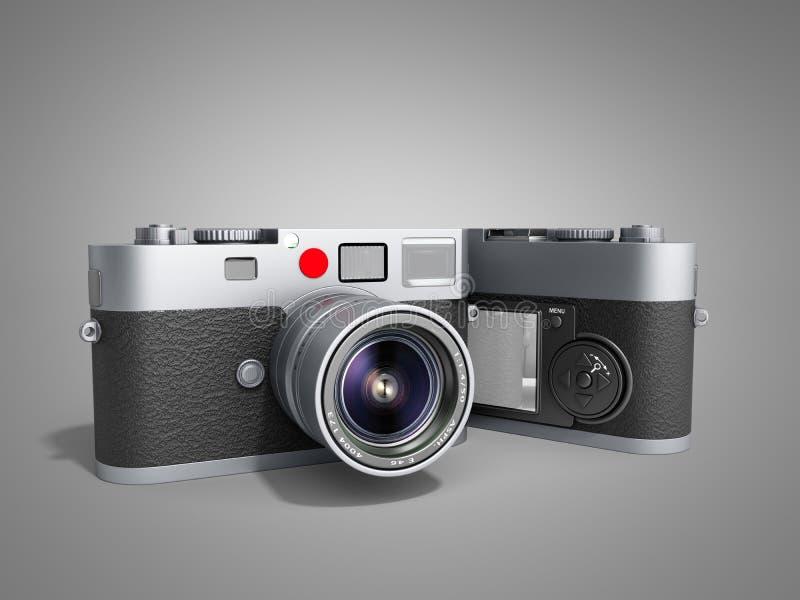 照片照相机3d在灰色回报 向量例证