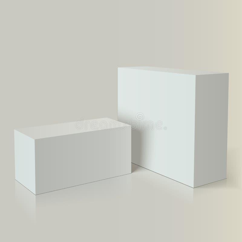 照片现实白色包装,烙记 库存例证