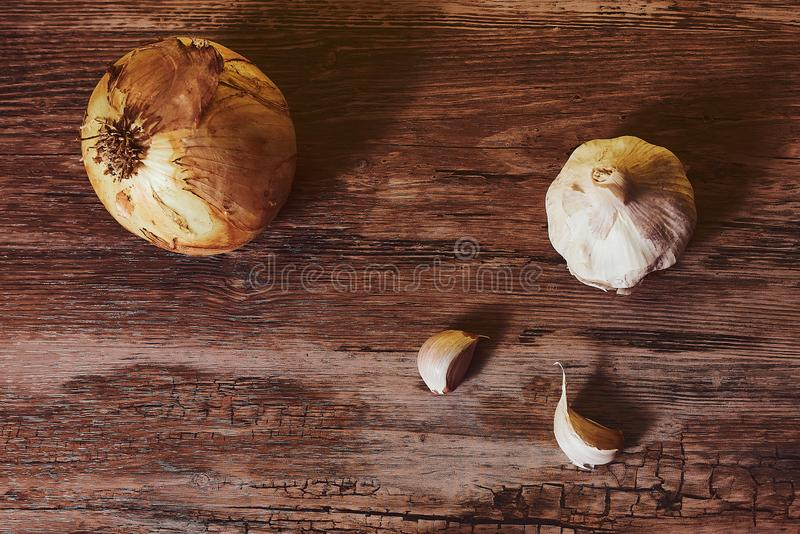 照片用大蒜和有机葱 库存照片