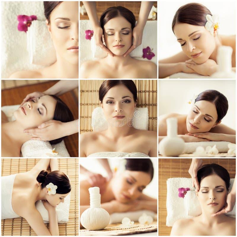 照片的汇集与有的妇女的massag的不同的类型 库存照片
