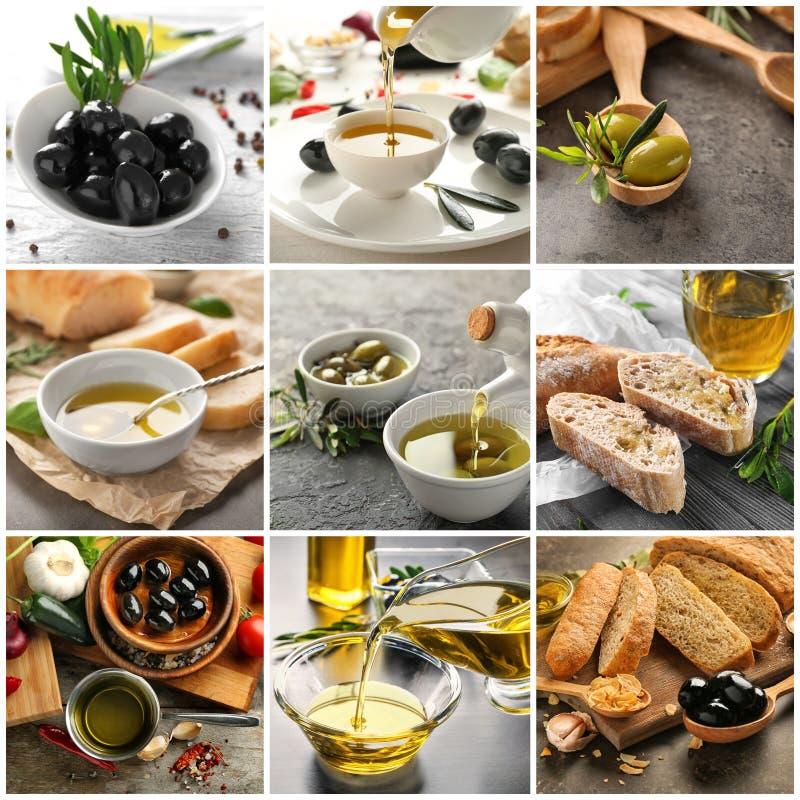 照片的汇集与鲜美橄榄油的 库存图片