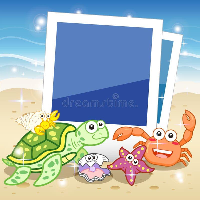 照片的装饰框架与热带明亮的鱼 皇族释放例证
