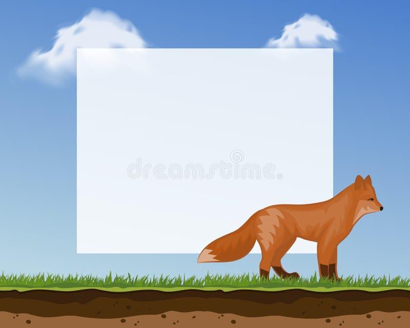 照片的逗人喜爱的狐狸框架和图片横幅儿童s物品的传染媒介例证 与滑稽的可爱宝贝背景 向量例证