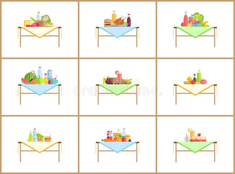 照片的静物画构成与食物集合 库存例证