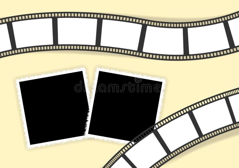 照片经典photoframes和影片条纹的拼贴画模板 皇族释放例证