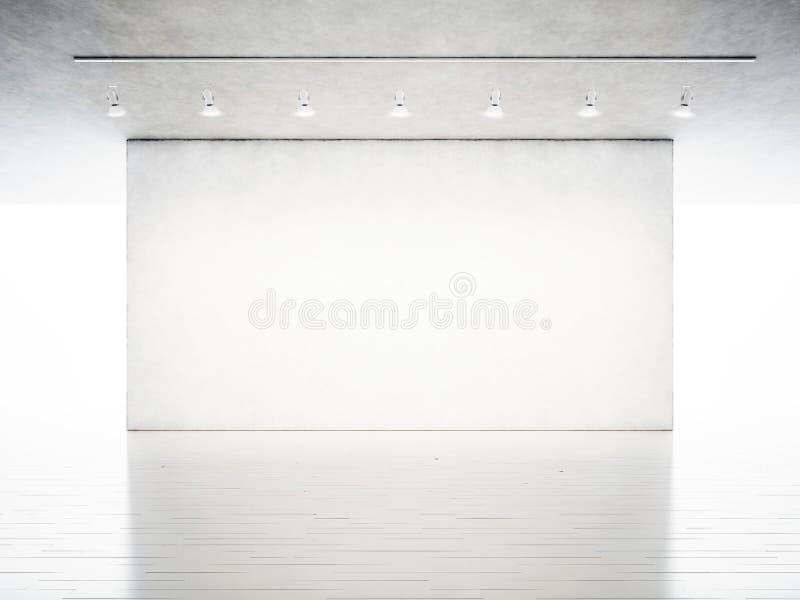 照片陈列现代画廊 空白的混凝土墙在当代艺术博物馆 与白色的内部工业样式 免版税库存照片