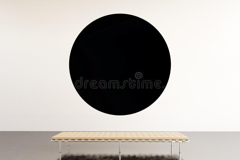 照片陈列空间现代画廊 垂悬当代艺术博物馆的圆的黑空的帆布 内部顶楼样式与 免版税库存图片