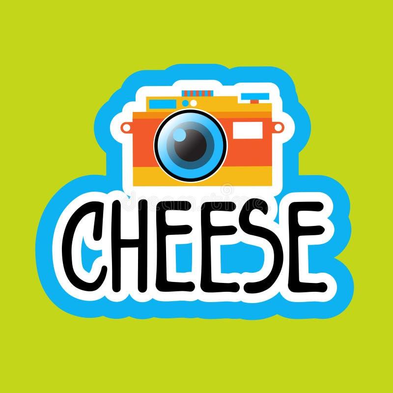 照片贴纸社会媒介网络消息徽章设计的乳酪 库存例证