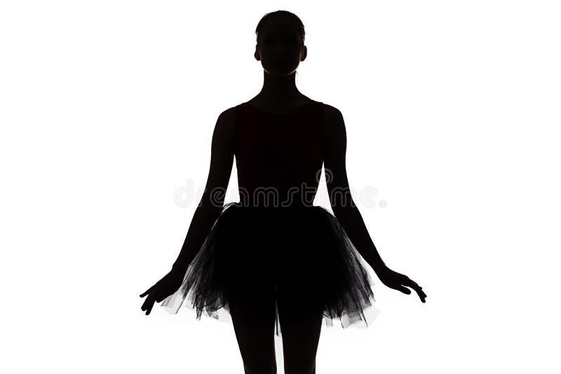 照片-年轻芭蕾舞女演员剪影  库存照片